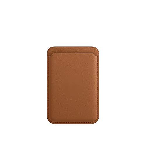 Wallfid - Portafoglio in pelle per iPhone 12 Mini/Pro/Max con magnete MagSafe, porta carte RFID, Max 2 carte (marrone fascia)