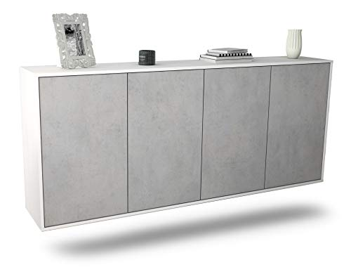 Dekati Sideboard Lakewood hängend (180x77x35cm) Korpus Weiss matt | Front Beton Optik | Push-to-Open