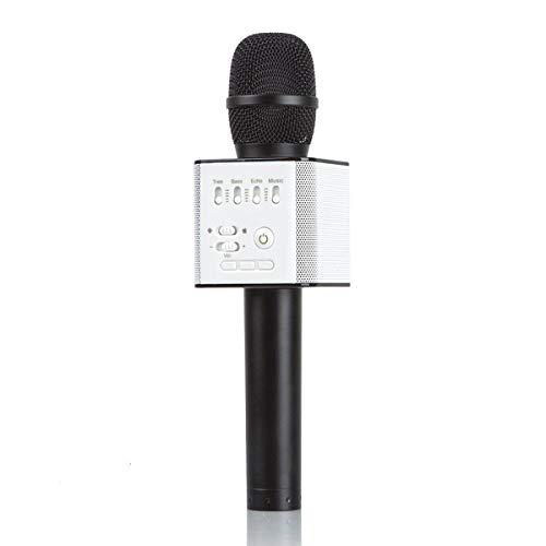 HaiQianXin muziekspeler, micro, oplaadbaar, USB, met microfoon, karaoke, draadloos, Bluetooth (kleur: zwart)