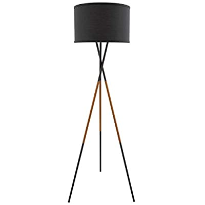 "Kira Home Sadie 61"" Mid Century Modern Tripod LED Floor Lamp + 9W Bulb (Energy Efficient/Eco-Friendly), Leather Accent Legs, Black Drum Shade, Black Finish"