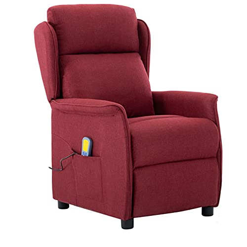 Susany Poltrona Massaggiante Elettrica Relax Reclinabile con 6 Punti da TV in Tessuto Rosso Vino con Poggiapiedi,Poltrona Relax Reclinabile,Poltrona da TV,Poltrona da Massaggio,Poltrona per Anziani