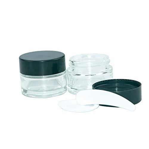 10pcs 15ml Pot Cosmétique Vides Flacon Maquillage en Verre Portable Crème Bouteilles Voyage pour Visage,Lotion,Crème,Poudres,avec Noirs Couvercle et Doublure