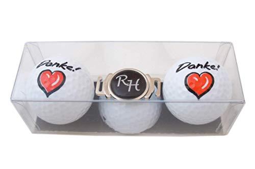 RoLoGOLF Golf-Geschenk-Set: 2 Golfbälle Danke und Schuh-Clip + Marker mit INITIALEN! NEU!!! EIN Dankeschön für Golffreunde!