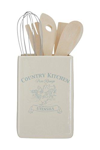 Premier Housewares diseño de Tazas Recipiente para Utensilios de Cocina Incluye Herramientas, Crema