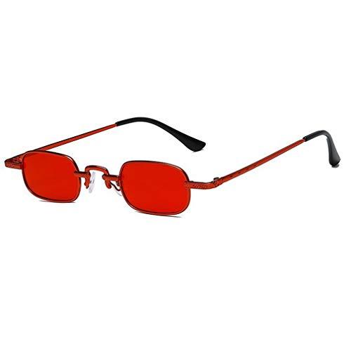 Retro Punk Gafas de Montura pequeña Gafas de Sol cuadradas Transparentes de Metal a la Moda (Rojo + Rojo)
