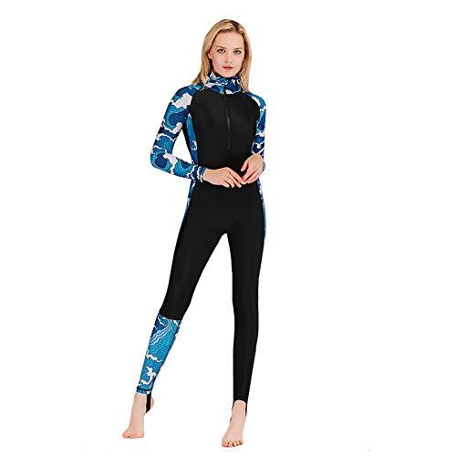 XDXART Damen Einteiliger Badeanzug mit Kapuze Langarm-Badeanzug mit Langen Beinen Surfanzug UV-Schutz Sonnencreme (Blue Wave, L)