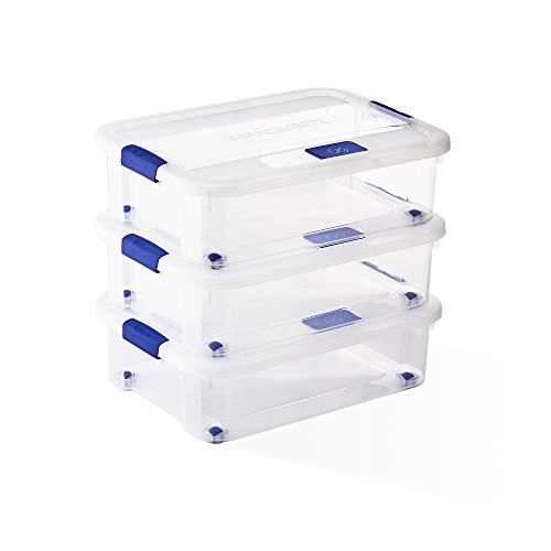 USE FAMILY Space Box. 3 Cajas almacenaje Bajo Cama 31 L- Transparente |Apilables- Hermético | Con Ruedas | 60 x 45 x 17 cm | Caja Organizador plastico (31 L, Bajo cama sin Bandeja)