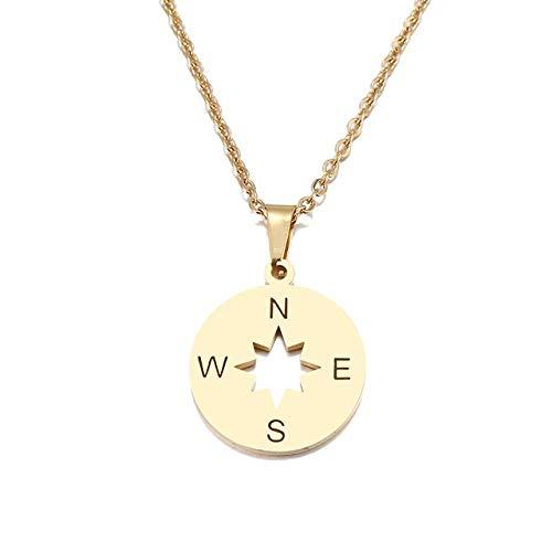 LHXMY Women'S Roestige stalen ketting Lover'S goud en zilver ronde kompas handgemaakte ketting sieraden