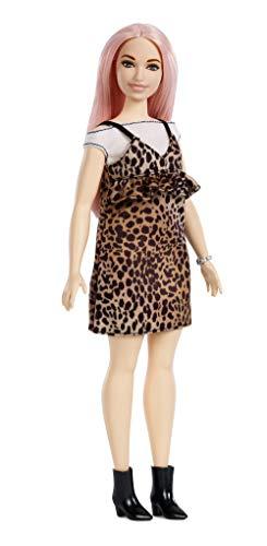 Barbie Fashionista - Muñeca con pelo rosa y vestido de leopardo (Mattel FXL49)