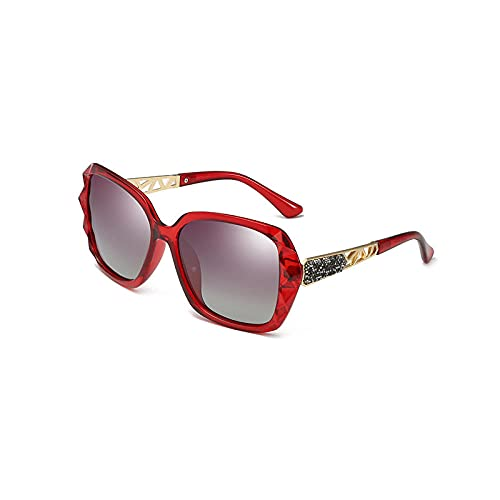 Gosunfly Gafas de sol de moda modelos con incrustaciones gafas de mujer polarizadores de conducción Tinta UV UV-Vino tinto