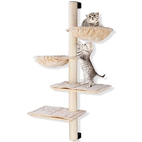 Cat Wall Shelves, 49 inch, Wall Mounted Cat Scratching Post with Hammock, Cat Tree with 2 Rest Board, Four-Level Cat Wall Furniture