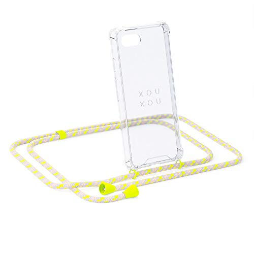 xouxou ® Handykette Für iPhone 7/8 / SE (2nd Generation) (Handyhülle Zum Umhängen) In Neon Camouflage (Schutzhülle Mit Band)