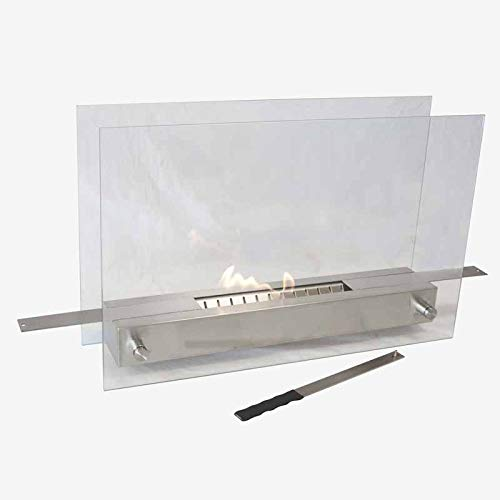 Best Buy! Better & Best Gr Portable Steel Fireplace with Large Closure (Recommended Ethanol), Measures 55 x 14 x 35 cm, Maximum Open Width: 88 cm, Material: Glass/Metal, Silver