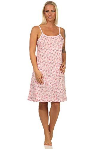Normann Damen Spaghetti Nachthemd mit Spitzenbesatz - auch in Übergrössen erhältlich, Farbe:rosa, Größe:52-54