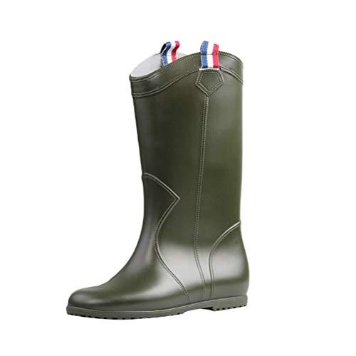 JEELINBORE Damen Gummistiefel Garten Regen Schnee Wellington Boots Flache Fest Regenstiefel (Armee Grün, L (CN 38/39))