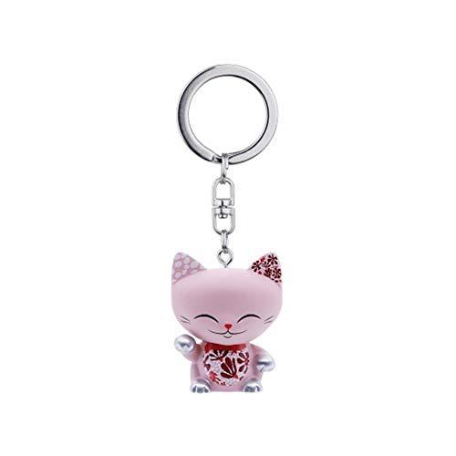 MANI THE LUCKY CAT Porte clé Chat Porte Bonheur Rose Collier Framboise