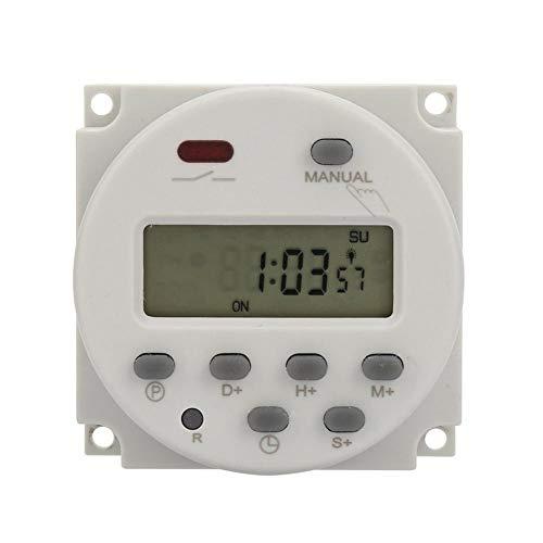 Dpofirs Mini programmierbarer Timer-Schalter, 1 Sekunde bis 168 Stunden, elektronische automatische Zeitsteuerung, 5 V 12 V 24 V 110 V 220 V, digitaler Wand-/Schalttafeleinbau-Timer(5V DC)