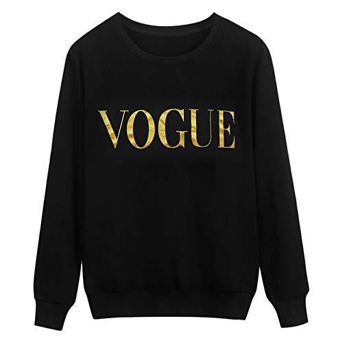 NRWYYD Vogue Winter weiblichen großen Satz von neuen Buchstaben Druck Freizeit Harajuku langärmeligen dicken Pullover Sweatshirt M Schwarz