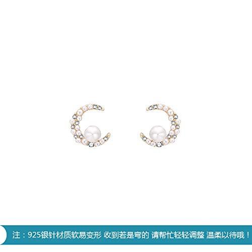 Chwewxi Esta Noche ● Mes Pendientes de Perlas de Agua Dulce Coreana exquisitos Pendientes de Oreja Derecha Izquierda y Derecha Salvajes E798, par de Agujas de Plata