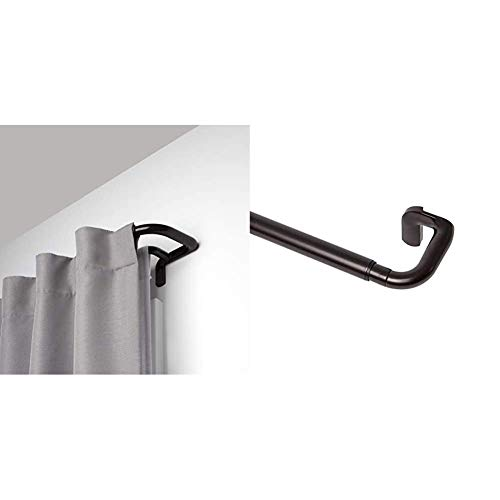 Umbra Twilight Double Curtain Rod Set – Wrap Around, 48-88, Bronze & Twilight Single Curtain Rod Set – Wrap Around Design is Ideal for Blackout or Room Darkening Panels, 48-88, Bronze