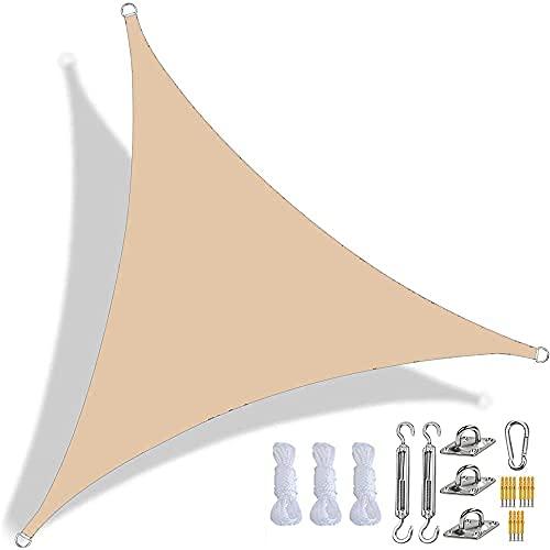 Toldo Vela De Sombra Triangular Impermeable Toldo con Protección UV, Tela Oxford Resistente, con Kit De Fijación Y Cuerda (3.6x3.6x3.6m,De Color Crema)