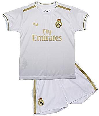 Conjunto Camiseta y pantalón 1ª equipación del Real Madrid 2019-20 - Replica Oficial con Licencia - Dorsal 7 Hazard - 14 años
