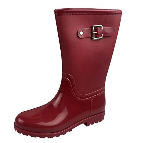 Damen Gummistiefel, hohe Stiefel, wasserdicht, für den Außenbereich, rutschfest, Gummi, Schneeschuhe, Rot - rot - Größe: 38.5 EU