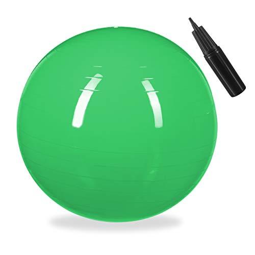 Relaxdays Unisex– Erwachsene Gymnastikball, Fitnessball Yoga & Pilates, Sitzball Büro, Balance Ball inklusive Luftpumpe, Ø 55 cm, grün, 1 Stück