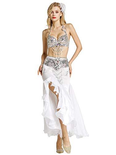 Zengbang Mujer Ropa para Practicar Baile Sujetador Faldas de Danza Oriental Danza del Vientre Traje (Blanco(3PCS), Asia S)