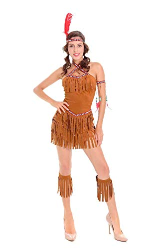 KHDFYER Ropa Ertica para Mujer Mujeres Indias con Flecos Indios Nativos Princesa De Los Bosques Salvajes Hunter Disfraz Set Cosplay para Fiesta De Halloween Disfraz-Brown_XL