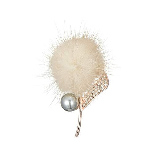 Klaritta Cream Flower Pom Pom Soft Fur with Rhinestones and Pearl Modern Brooch Pin for Women Girls BR493C