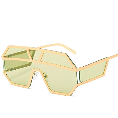 KONGYUER zonnebril, La Mode Punk glas Siamesisch groen gouden metalen frame vlak unisex lichtbril UV400 UV-bescherming, geschikt voor paardrijden/fietsen/hardlopen/skiën/vissen/Indi