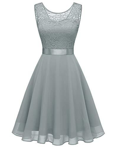 BeryLove Damen Spitzenkleid Brautjungfer Elegant Party Knielang Cocktailkleid Chiffon Ärmellos BLP7005B-GreyS