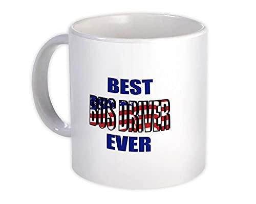 Najlepszy kierowca autobusu kiedykolwiek: Kubek na prezent flaga USA patriot amerykański współpracownik praca