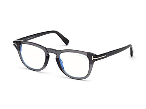Tom Ford FT5660-B 020 Shiny Transparent Grey Plastic Round Eyeglasses 49mm