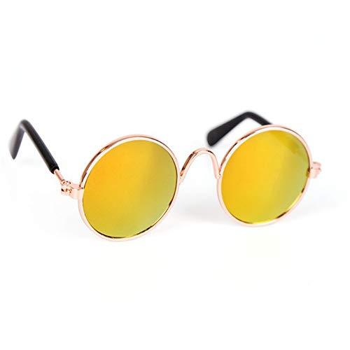 DC CLOUD Gafas De Sol Perros Gafas De Sol para Perros para Gafas Cachorro Gafas de Sol Ojo Gafas de protección Gafas Protectoras para Perros Gafas para Gatos Gold