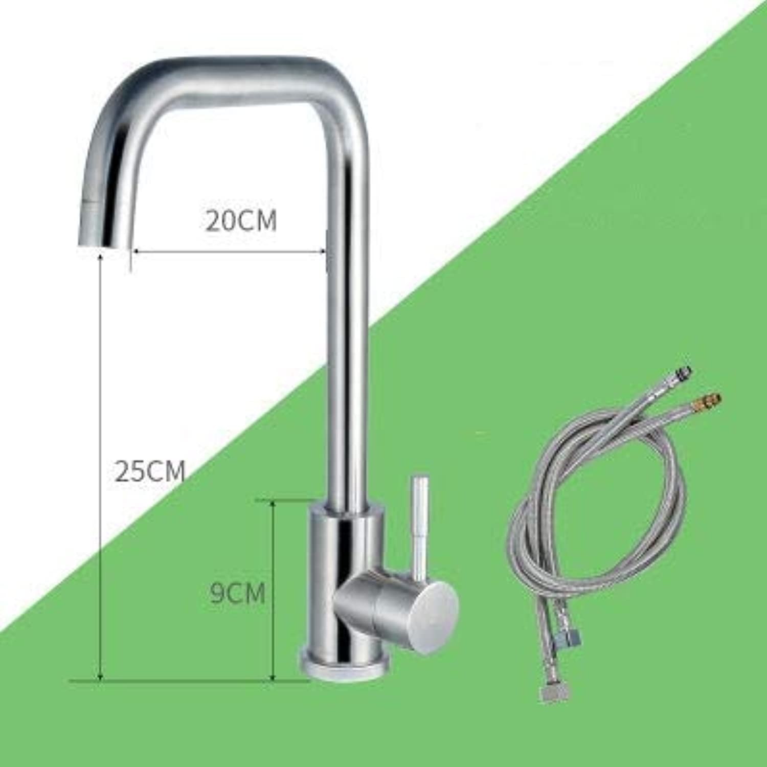 JWLT faucets Germany's 304 lead-free washing basin, cold and hot kitchen faucet, single cold drawing faucet, universal redary,304 wash dishes dish hot and cold seven curved 60 hot and cold water pipes