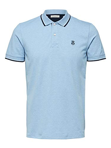 SELECTED HOMME Slhnewseason SS Polo W Noos Camisa, Skyway, L para Hombre