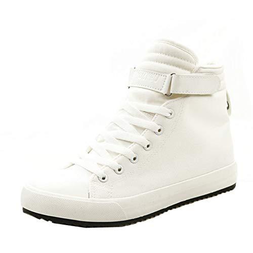 Scarpe Invernali da Uomo Stivali da Lavoro Corti Sneakers Alte da Esterno Scarpe di Tela Calde e morbide Stivaletti Casual con Lacci
