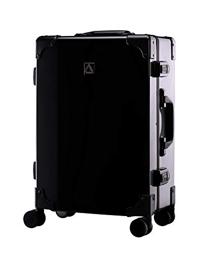 Andiamo Classico Suitcase with Built-in TSA Lock - Zipperless 20 Inch Hardside Carry On Bag- Lightweight (ABS+PC) Luggage With 8-Rolling Spinner Wheels (Black)