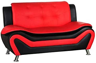 Best Kingway Furniture Gilan Faux Leather Living Room Loveseat in Black and Red