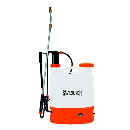 STARKEMUNICH Bomba de Hombro – Aspersor eléctrico y Manual – Pulverizador Profesional y Potente 12 V – 8 Ah