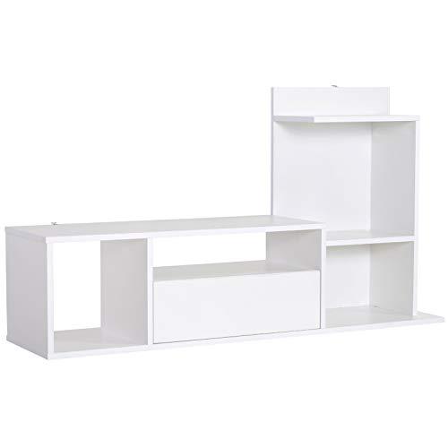 Homcom Meuble TV Design Contemporain Multi-rangements Grand Plateau 3 niches 2 étagères tiroir mélaminé Blanc Mat