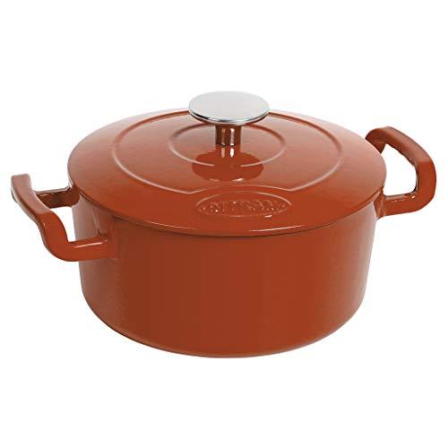 Sitram COCOTTE Sitrabella ronde en fonte émaillée 5 litres - Extérieur orange et intérieur blanc - toutes sources de chaleur y compris induction et four - 711985