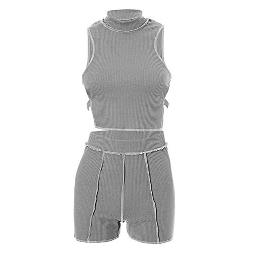 MARIJEE Pantalones de punto de color sólido para mujer, pantalones de desgaste inverso umbilical, para verano, casual, cómodo, holgado, para correr, gimnasio, sala de estar, sudadera (gris, M)