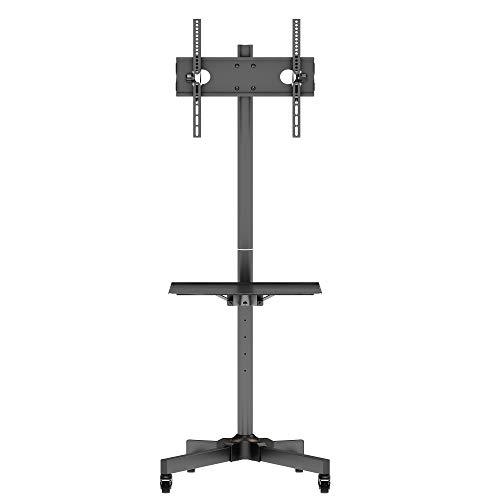 BONTEC TV Ständer Rollbar TV Rollwagen mit Tablett für 23-55 Zoll Plasma/LCD/LED TV Trolley Höhenverstellbar & Stabil Home Display Trolley mit Nicht Markierenden Rollen max.VESA 400x400 Schwarz