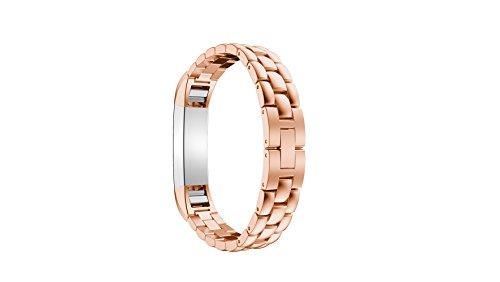 Fitbit Alta HR Correa, Correa Fitbit Alta, AISPORTS Fitbit Alta Stainless Steel Scale Design Reloj inteligente Reemplazo de bandas Pulsera para Fitbit Alta / Alta HR Fitness Accessories - Oro rosa