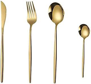 Kaishuai-4 pièces en titane plaqué or ensemble de couverts, d'or Couverts,Acier Inoxydable, Or, fourchettes de table,or br...