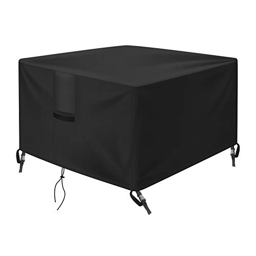 OKPOW Fire Pit Cover Square 36 inch, 600D Heavy Duty Outdoor Firepit Covers Waterproof Windproof Anti-UV,Suitable for 34 inch,35 inch,36 inch Fire Pit/Table, Black