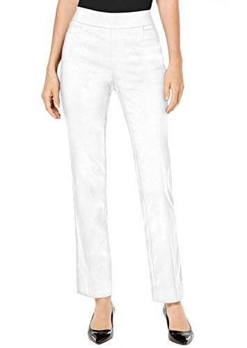 JM Collection Petite Tummy Control Pull-On Pants (Bright White, P/M)